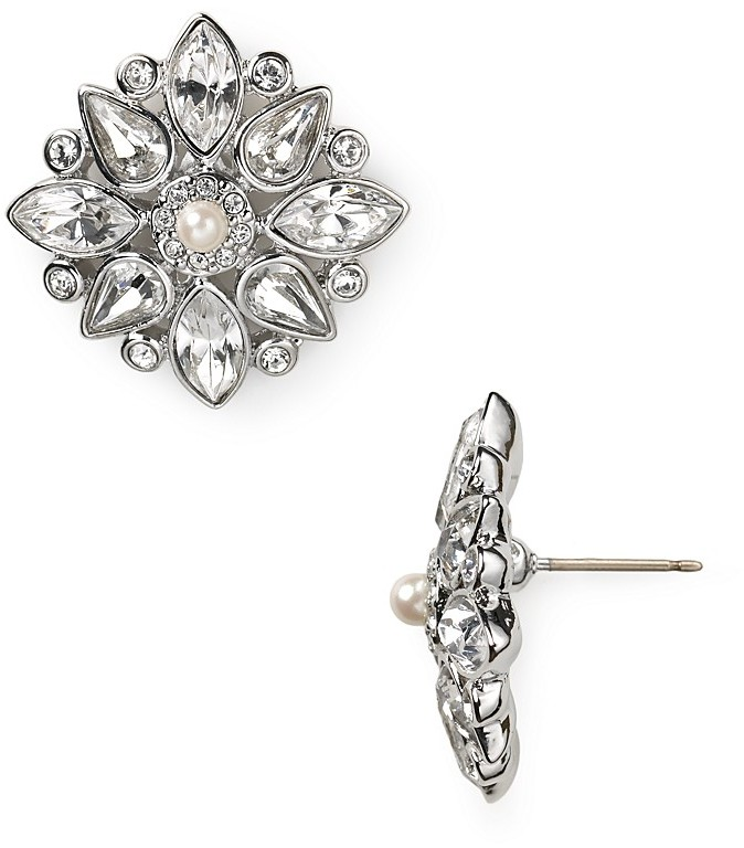 Carolee Lux Crystal Flower Button Earrings