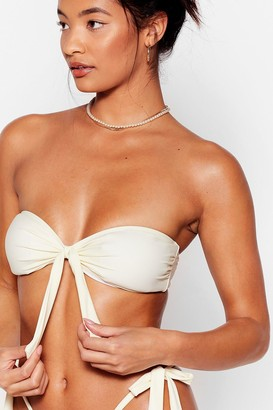 Nasty Gal Womens Havana a Good Time Tie Bandeau Bikini Top - Cream