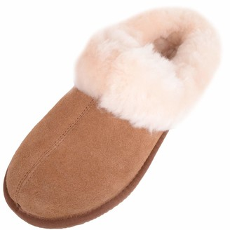 SNUGRUGS Women's Harriet Sheepskin Slipper Mule with Cuff - Chestnut - UK 8