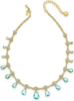 Kate Spade Gold-Tone Blue Crystal and Pavé Collar Necklace