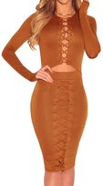 Min Qiao Women's Sexy Crisscross Lace Up Long Sleeve Bodycon Stretch Bandage Party Club Dress