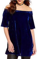 Gianni Bini Hope Short Sleeve Off-The-Shoulder Velvet Blouse