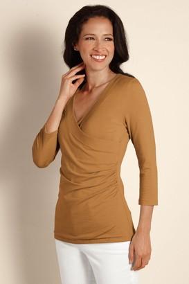 Women Shapely Surplice 3/4 Sleeve Top