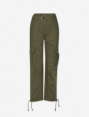 Whistles Drawstring-hem high-rise cotton and linen-blend trousers