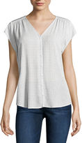 Liz Claiborne Short Sleeve Button-Front Shirt