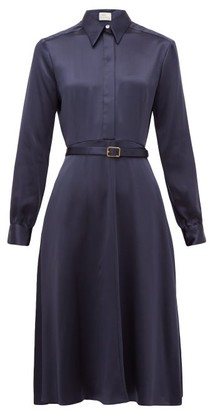 Hillier Bartley Belted Silk-satin Shirt Dress - Womens - Navy