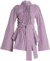 TEIJA Cut-out cotton-gingham wrap top