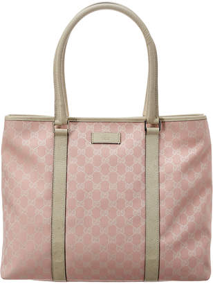 Gucci Pink Gg Canvas & White Leather Tote