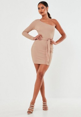Missguided Taupe Ribbed One Shoulder Belted Mini Dress