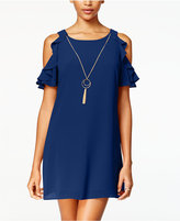 Amy Byer Juniors' Cold-Shoulder Ruffled Shift Dress with Necklace