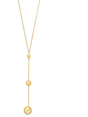 14k Gold Graduated Bead Y Necklace