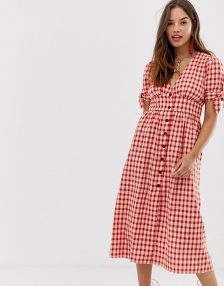 Moon River gingham midi dress-Red