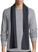 Vince Striped Ribbed Wool Scarf