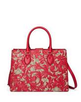 Gucci Arabesque Canvas Top Handle Bag, Red