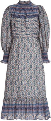 Sea Verbena Printed Cotton-Blend Midi Dress