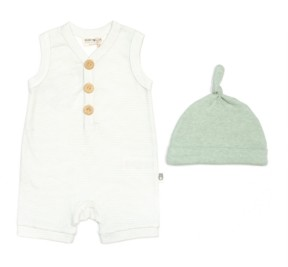 Rabbit+Bear Rabbit + Bear Baby Boys and Girls Romper and Cap Set, 2 Piece