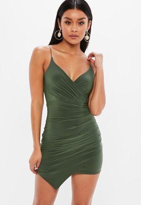 Missguided Khaki Strappy Slinky Wrap Bodycon Mini Dress