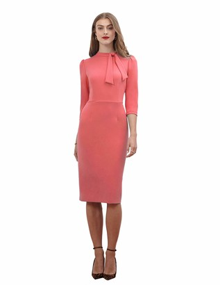 Donna Morgan Women's 3/4 Sleeve Tie Neck Crepe Sheath Dress