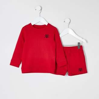 River Island Mini boys red RVR sweatshirt outfit