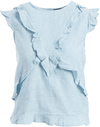 Harve Benard Women's Blouses Aqua - Aqua Ruffle-Front Sleeveless Top - Women