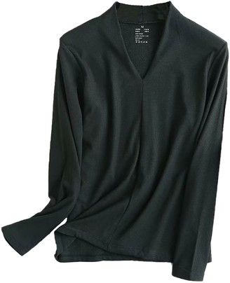 Goodnight Macaroon 'Tiffany' Ribbed V-Neck Thin Long Sleeve Top (6 Colors)