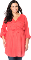 Motherhood Plus Size Convertible Sleeve Tie Front Maternity Tunic