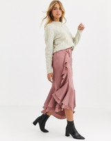 We Are Kindred Frenchie bias cut ruffle midi skirt