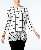 Alfani Printed Layered-Look Mixed-Media Tunic, Only at Macy's