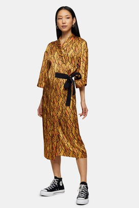 Topshop Womens **Orange Paisley Wrap Silk Dress By Orange