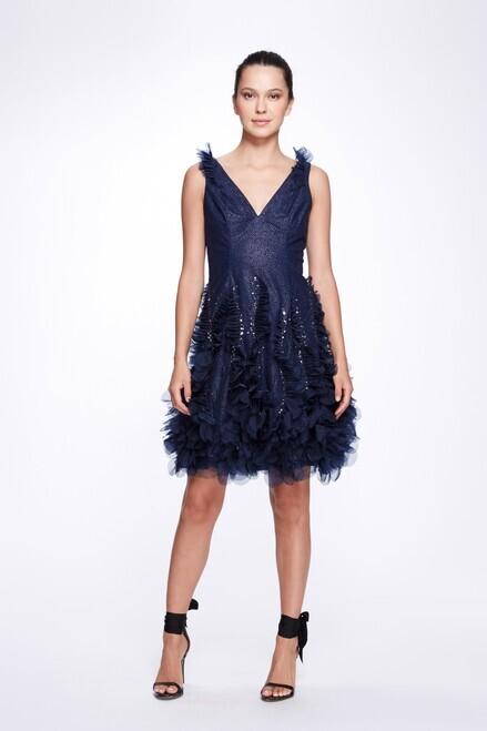 Marchesa Notte Sleeveless V-Neck Textured Glitter Tulle Cocktail Dress
