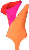 Thierry Mugler colour block playsuit - women - Acetate/Viscose/Polyamide/Spandex/Elastane - 34