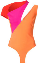 Thierry Mugler colour block playsuit - women - Polyamide/Spandex/Elastane/Acetate/Viscose - 34