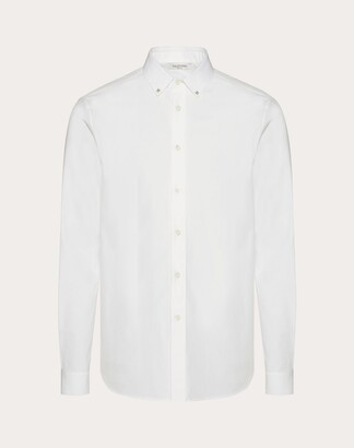 Valentino Rockstud Untitled Shirt Man Optic White Cotton 100% 38