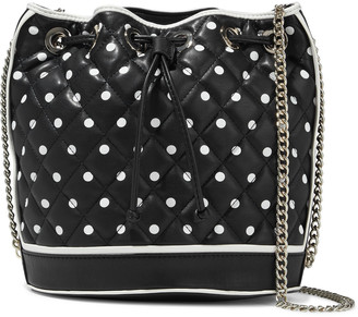 Boutique Moschino Polka-dot Quilted Leather Bucket Bag
