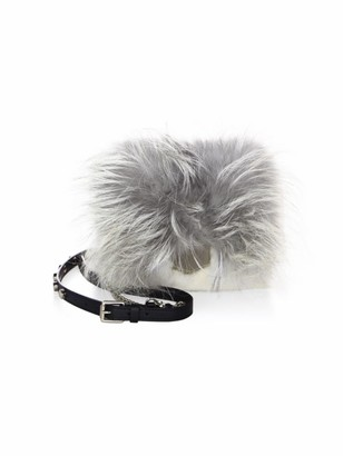Jimmy Choo Petite Metallic Lockett Mink Fur Crossbody Bag