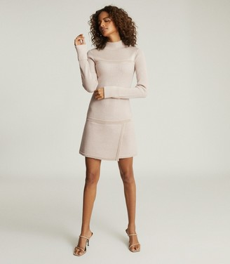 Reiss Zoe - Knitted Mini Dress in Blush