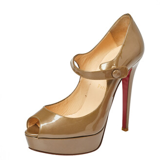 Christian Louboutin Dark Beige Patent Leather Bana Mary Jane Platform Pumps Size 38.5