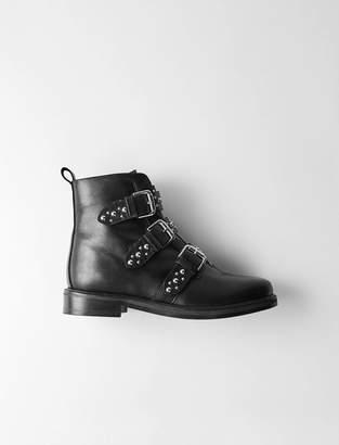 Maje Flat leather studded booties