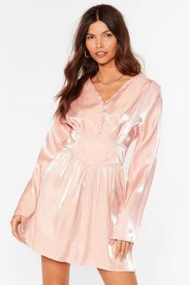 Nasty Gal Womens Shimmer Over Here Mini Shirt Dress - Salmon