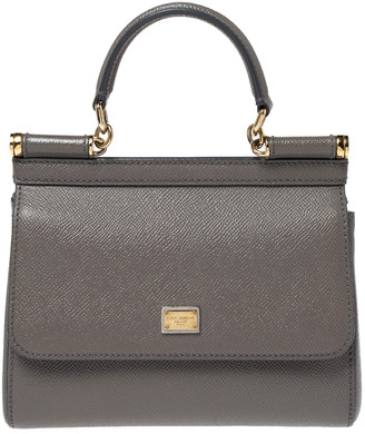 Dolce & Gabbana Grey Leather Mini Sicily Top Handle Bag