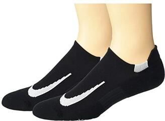 Nike Multiplier Running No Show Socks 2-Pair Pack (Black/White) No Show Socks Shoes