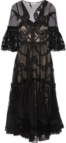 Temperley London Appliquéd Tulle Dress - Black