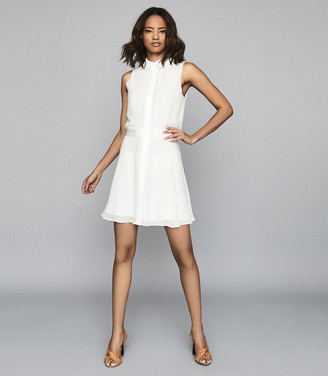 Reiss Allie - Semi Sheer Sleeveless Dress in Ivory