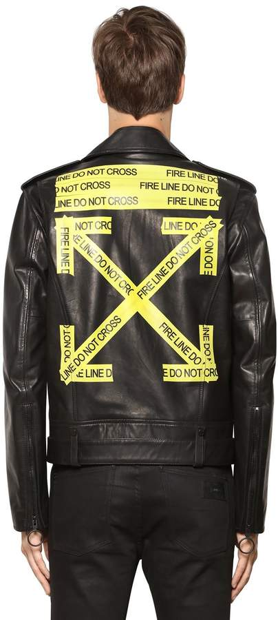 Off-White Off White Fire Line Tape Leather Biker Jacket