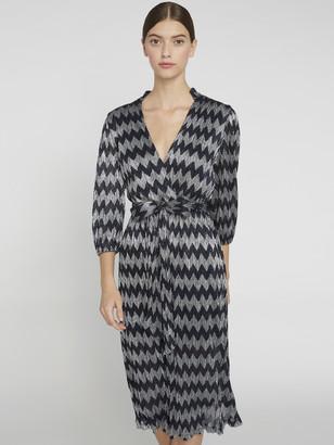 Alice + Olivia Katina Metallic V-Neck Midi Dress