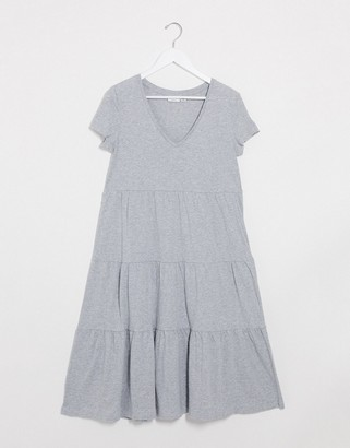 Noisy May tiered maxi smock dress in gray