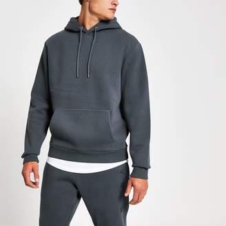 River Island Mens Dark Blue Svnth embroidered hoodie