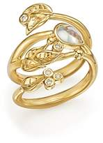 Temple St. Clair 18K Yellow Gold Royal Blue Moonstone and Diamond Leaf Ring