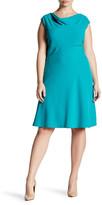 Tahari Scuba Crepe A-Line Dress (Plus Size)