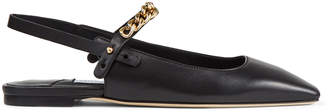 Jimmy Choo MAHDIS FLAT Black Nappa Leather Flats with Light Gold Chain Strap